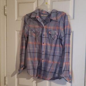 Plaid casual shirt blouse